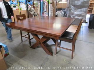 Samson International Counterheight Wood Dining Table w/built-in Leaf & Two Chairs