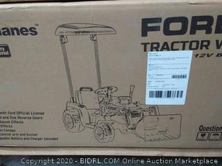 """Ford Tractor with Loader, Battery Powered Wheel 12V Ride On, 50.4"""" x 21.26"""" x 44"""", Blue (online $236)"""