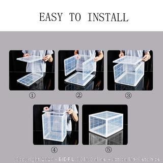 Storage Shoes Box Storage Plastic Foldable Stackable Clear Closet Shelf Shoe Organizer (online $109)