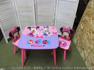 Mini Mouse Table with Two Chairs