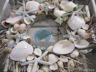 "Whimsical Blue Waters- 20"" Wreath Seashell"
