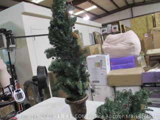 Winter Wonderland - Set of 2 Pre-Lit Porch Trees (1 Tree Base Broken, See Pictures)