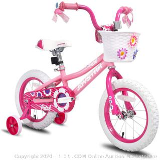 joystar 14 in wheel bicycle pink suitable for ages 3 to 5. (online $119)