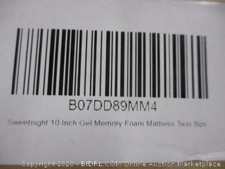 10 in. Gel Memory Foam Mattress Size Twin