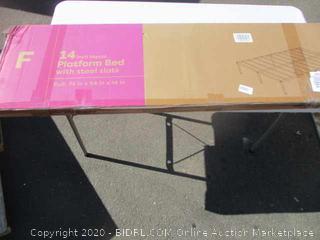 14 in. Metal Platform Bed w/ Steel Slats Size Full