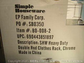 Heavy Duty Double Rod Clothing Rack (Box Damage)