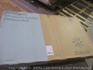 Zinus Upholstered Geometric Paneled Platform bed Queen