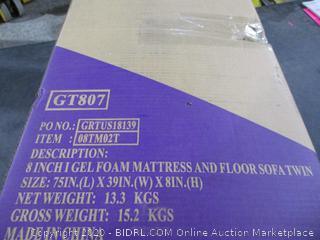 8 inch Gel foam Mattress and Floor Sofa twin