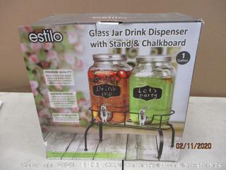 Glass Jar Drink Dispenser with Stand & Chalkboard