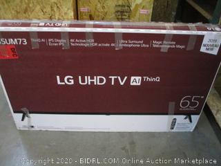 """LG UHD TV 65""""  Cracked screen, Powers on See Pictures"""