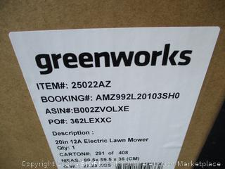 "Greenworks 20"" 12A Corded Lawn Mower"