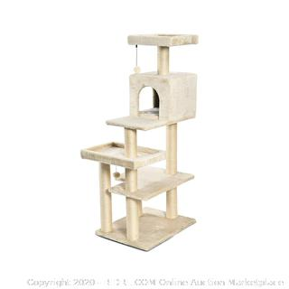Extra Large Cat Tree Tower with Condo - 24 x 56 x 19 Inches, Beige (online $72)