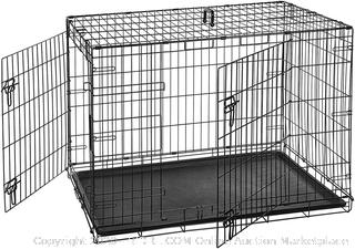 Double-Door Folding Metal Dog Crate Cage - 42 x 28 x 30 Inches (online $67)