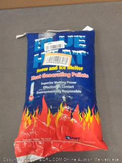 blue heat snow and ice melter with heat generating pellets