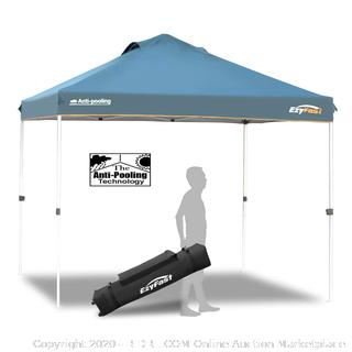 EzyFast anti-Pooling Pro commercial canopy for rain or Sunshine (online $129)