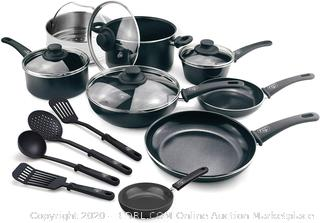 Greenlife soft-grip aluminum Black Diamond 16 piece cookware set(Factory Sealed)COME PREVIEW!!!!!