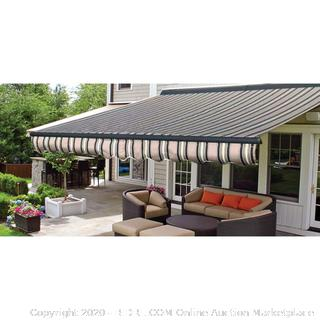 ALEKO AWCM20X10MSTRGR58 20 x 10 Feet Half Cassette Retractable Motorized Patio Awning Multi-Striped Green (online $650)