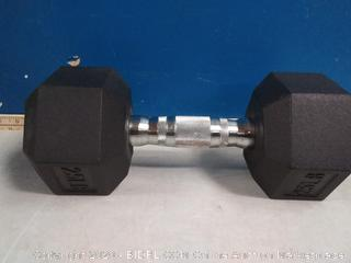Rubber Encased Hex Dumbbell Weight - 12.4 x 5.4 x 4.6 Inches, 25 Pounds