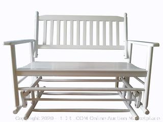 rockingrocker - A058WT White Porch Wood Glider Bench Rocker Patio Wooden Loveseat — Assembled Dimensions:W49.21 x H40.16 x D26.97 inches (online $229)