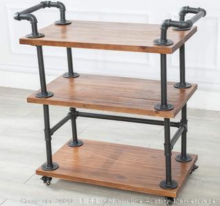 wood and metal bar cart