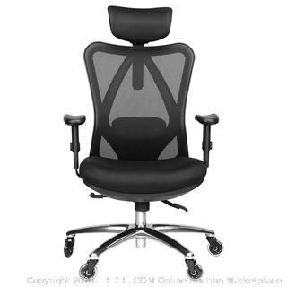 Duramont Ergonomic Adjustable Office Chair with Lumbar Support and Rollerblade Wheels - High Back with Breathable Mesh - Thick Seat Cushion - Adjustable Head & Arm Rests, Seat Height - Reclines (online $249)