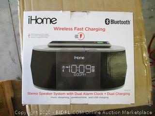 iHome- iBTW38- Dual Alarm Clock Stereo Speaker System w/ Qi Wireless Charging