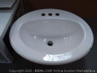 AquaSource White Drop-In Oval Bathroom Sink with Overflow Drain