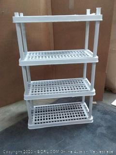 Keter 36 in x 18 in storage unit with 4 shelves (bonus 5th shelf needs parts)
