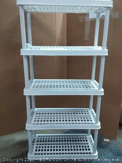 large white plastic 5 shelves