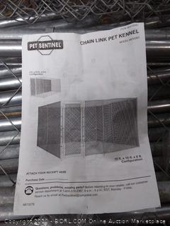 Pet Sentinel chain-link kennel (missing some fencing)