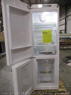 Smeg FAB32UWHLN 50s Retro Style Series 24 Inch Freestanding Refrigerator with 11.7 cu.ft. Total Capacity, 3.5 cu.ft. Freezer Capacity, 3 Glass Shelves, Crisper Drawer, Left Hinge, Frost Free Defrost, in White