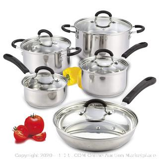 Cook N Home 10-Piece Stainless Steel Cookware Set(Factory Sealed)COME PREVIEW!!!!! (online $67)