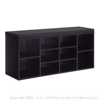 VASAGLE Cubbie Shoe Cabinet Storage Bench with Cushion, Adjustable Shelves, Holds up to 440lb, Ebony, ULHS10BR (online $85)