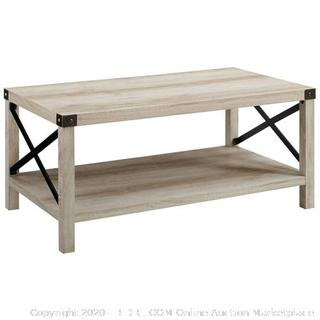"""40"""" Wood Rectangle Metal X Coffee Table in White Oak with Bronze Hardware (online $127)"""