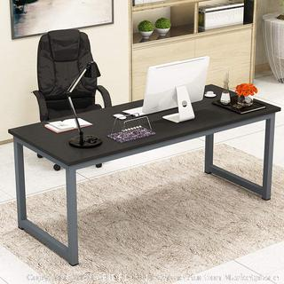 Writing Desk for Home and Office, 63in Writing Desks Large Study Computer Table Workstation,Black Wooden Top+Gray Metal Leg espresso (online $141) desk only