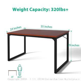 "Computer Desk 55"", Modern Simple Style Desk for Home Office, Sturdy Writing Desk, Coleshome, Teak"