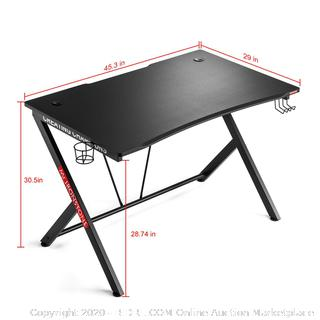 """Mr IRONSTONE Gaming Desk 45.3"""" W x 29"""" D Home Office Computer Table, Black Gamer Workstation with Cup Holder, Headphone Hook and 2 Cable Management Holes"""