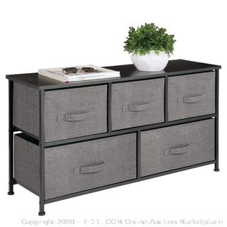 mDesign Extra Wide Dresser Storage Tower - Sturdy Steel Frame, Wood Top, Easy Pull Fabric Bins 5 drawer storage unit charcoal (online $75)