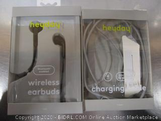 Heyday Wireless Earbuds & Charging Cable