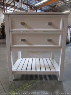 "Scott Living Canterbury 36"" White Bathroom Vanity with Carrara Engineered Stone Top (retail $499)"