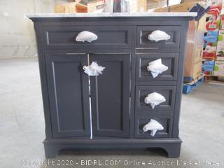 "Scott Living Roveland 36"" Gray Bathroom Vanity with Natural Carrara Marble Top (retail $699)"