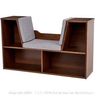 Kids Bookcase with Reading Nook and Storage Shelves, Espresso (online $86)