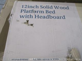 12 inch Solid Wood Platform Bed with Headboard