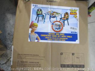 Woody and Buzz Character Chair Set with table damage