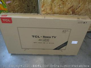 """TCL Roku TV 4K HDR Smart TV 50"""" See Pictures Powers on"""