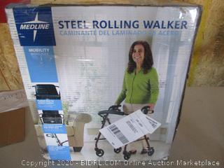 Medline Rollator Walker with Seat, Steel Rolling Walker