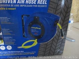 "GOODYEAR Air-Hose-Reel Retractable 3/8"" Inch x 50' Feet Premium Commercial Flex Hybrid Polymer Hose (Retail $159)"