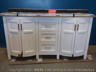 allen + roth Moravia 60-in White Double Sink Bathroom Vanity with Natural Carrara Marble Top (online $649)