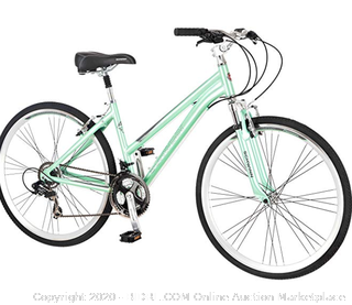 "Schwinn Siro Comfort Hybrid Bicycle, Lightweight Aluminum Step-Through Frame, Front Suspension Fork, Padded Suspension Seat, 21-Speed Shimano Drivetrain, and 700c Wheels, Light Green, S2621AZ, 16""/Small"