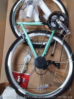 "Schwinn Siro Comfort Hybrid Bicycle, Lightweight Aluminum Step-Through Frame, Front Suspension Fork, Padded Suspension Seat, 21-Speed Shimano Drivetrain, and 700c Wheels, Light Green, S2621AZ, 16""/Small"